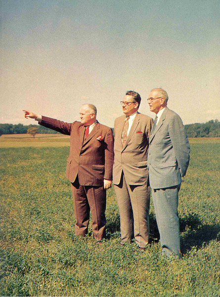 J. Goodner Gill, George R. Hill '30, Chairman of the Board of Trustees, and Franklin F. Moore previewing the new site of Rider College in Lawrenceville, N.J.