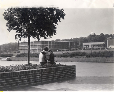 Students enjoying a sunny day on the patio of the Student Center during the late 1960s.