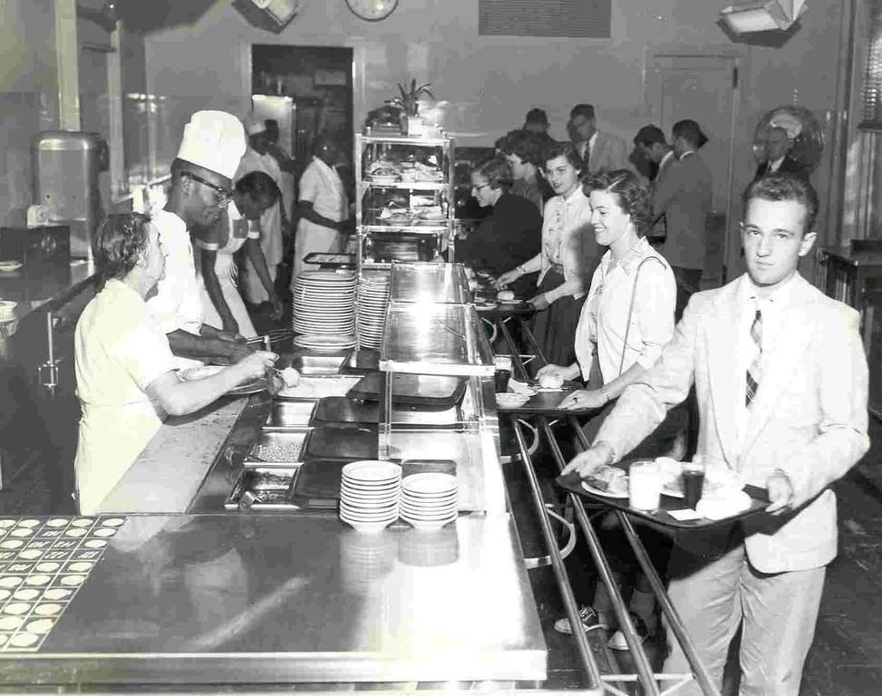 Students enjoying lunch at the cafeteria during the1950s on the Trenton campus.