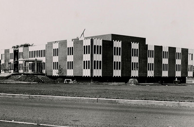 Construction nears completion of Moore Library in 1964.