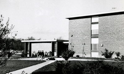 A side view of Wright Residence Hall.