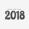 new year 2018 text in black design