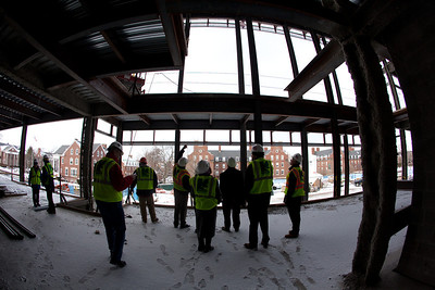 Atrium view from 2nd floor looking out.  This will be floor to ceiling glass all the way up!  ©Laura Brophy for the University of Rochester