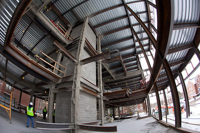 Fish-eye view of the atrium from the 2nd level/main lobby for Warner.  ©Laura Brophy for the University of Rochester