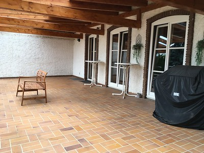 Main floor terrace with plenty of room for parties, games and hanging out!