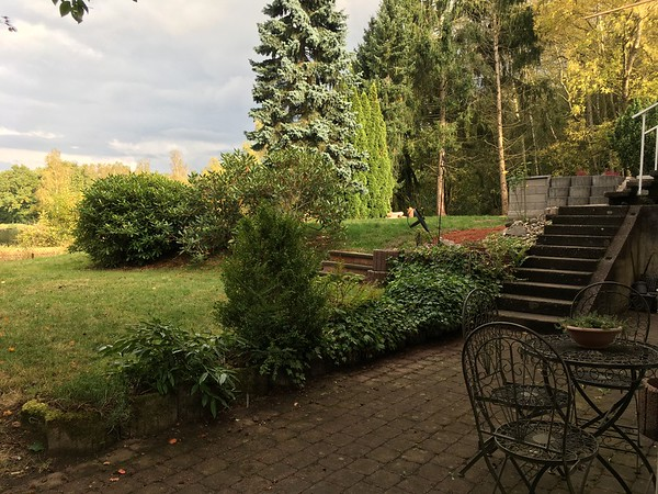 Guest apartment patio area with walk out to backyard and stairs to main house terrace.