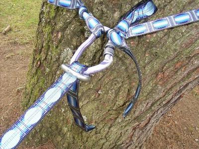 Et hop sur l'arbre B... Vous pouvez aussi faire un simple noeud, mais sous tension votre sangle va faire un pli et c'est pas très joli ( en plus ça fait mal aux pieds )...
