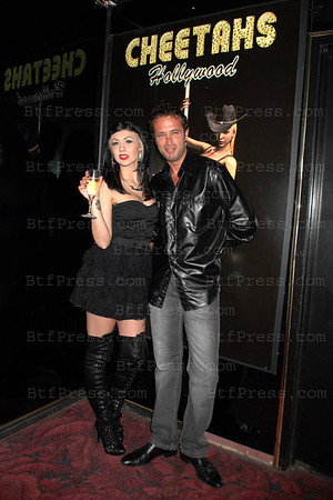 Lea from Bad Girls Club Miami with Fabrice Sopoglian during a night in Cheetahs club in Hollywood