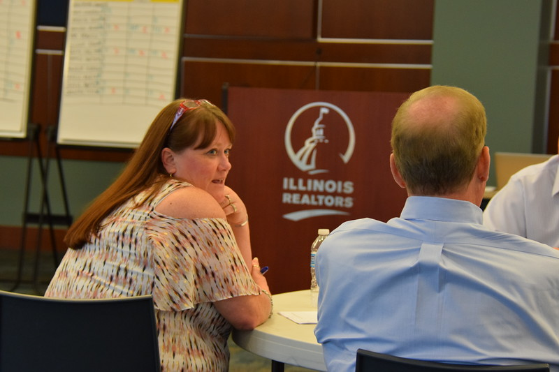 Terri Jeffries makes her point during a group exercise.