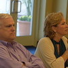 Eric Porter and Becky Kirchner listen to instructions for an ethics exercise.