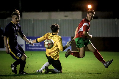 Dan Barrett opens the scoring on the night to make it Harrogate Railway 1-0 Bridlington Town