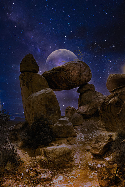 Moon Behind Balance Rock, Big Bend NP.