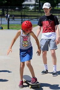 Learning to skate board in Fitchburg, July 18, 2018