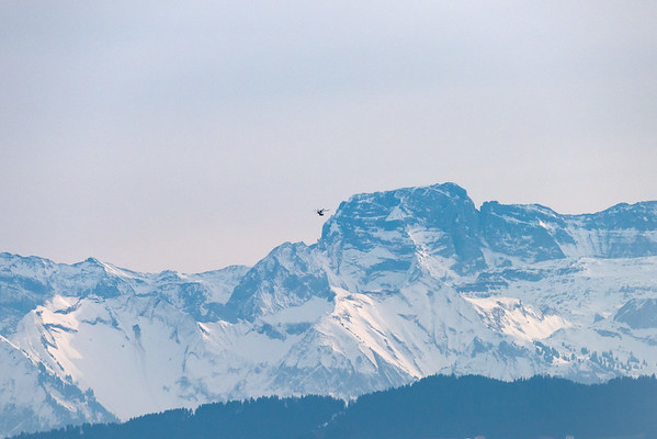 Helicopter: flying towards the Alps