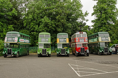 RT4779, RT604, RT3491, STL2377 and RT3183 in Randalls Road car park, Leatherhead