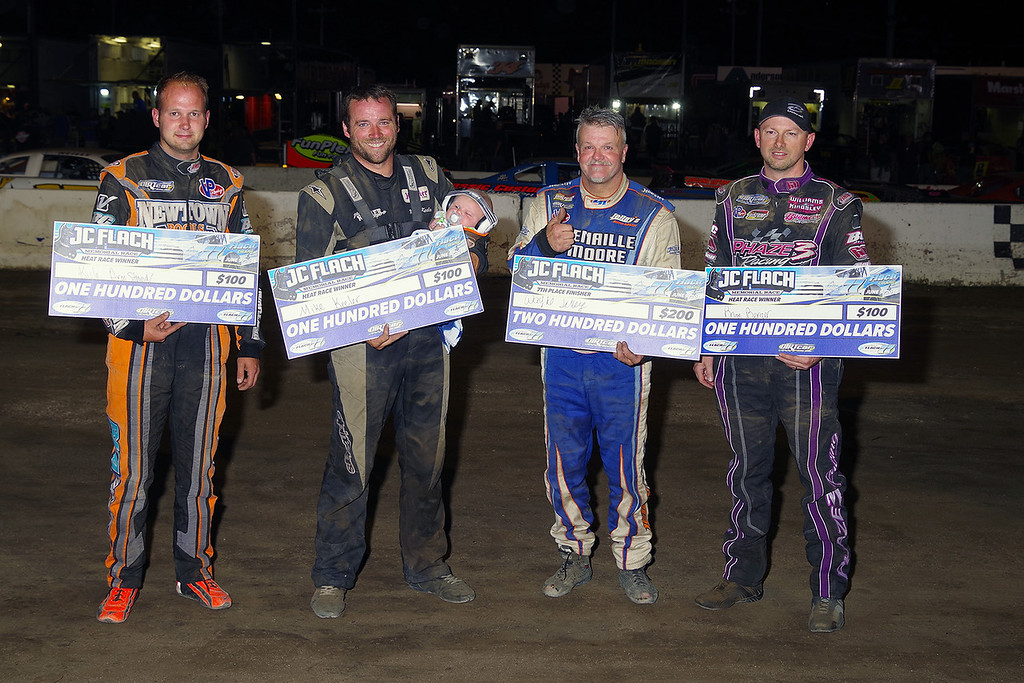 . Heat Race winners and 7th place finisher awards L-R Kyle Armstrong, Mike Keeler (Heat Winners) Wayne Jelley (7th Place) & Brian Berger (Heat winner - Photos courtesy - Mark Brown/Ryan Karabin - Kustom Keepsakes For more photos/copies visit https//nepart.smugmug.com