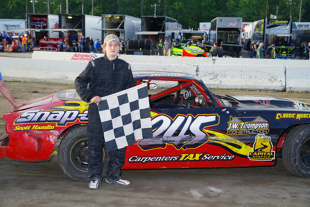 . Pure Stock winner Evan Denue #245 - Photos courtesy - Mark Brown/Ryan Karabin - Kustom Keepsakes For more photos/copies visit https//nepart.smugmug.com