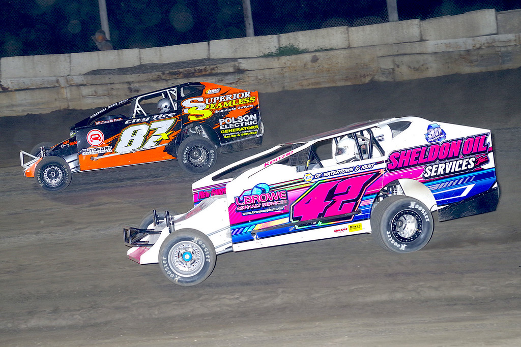 . Mod action Kyle Sheldon #42 & Paul Gilardi #87X at Lebanon Valley Speedway June 30, courtesy Kustom Keepsakes, Mark Brown and Ryan Karabin. For reprints and more,visit https://nepart.smugmug.com