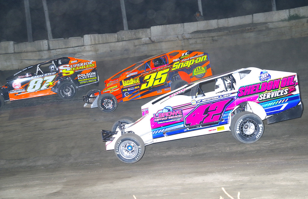 . Mod action Kyle Sheldon #42, LJ Lombardo #35 & Paul Gilardi #87X at Lebanon Valley Speedway June 30, courtesy Kustom Keepsakes, Mark Brown and Ryan Karabin. For reprints and more,visit https://nepart.smugmug.com