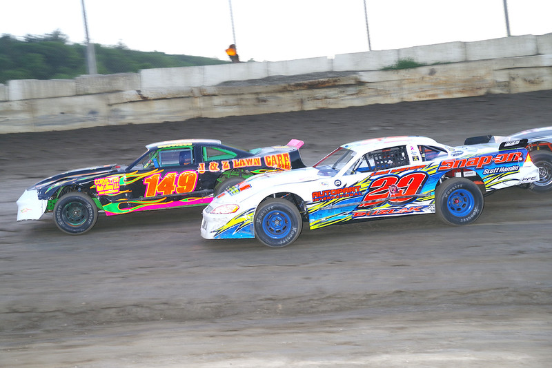 "Pro stock action Ricky Duzlak #29 & Don Cllins #149 at Lebanon Valley Speedway June 30, courtesy Kustom Keepsakes, Mark Brown and Ryan Karabin. For reprints and more,visit <a href=""https://nepart.smugmug.com"">https://nepart.smugmug.com</a>"