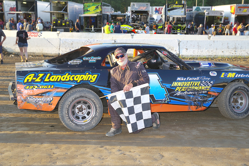 "Pure Stock winner Al Relyea #14 at Lebanon Valley Speedway June 30, courtesy Kustom Keepsakes, Mark Brown and Ryan Karabin. For reprints and more,visit <a href=""https://nepart.smugmug.com"">https://nepart.smugmug.com</a>"