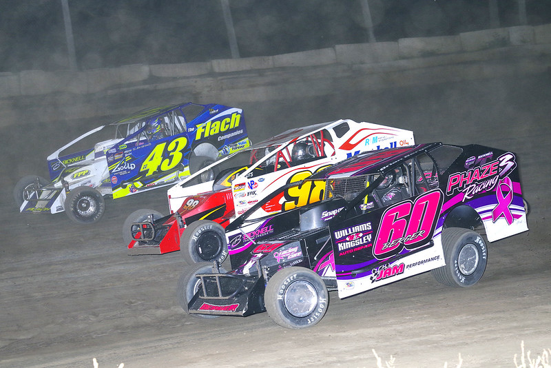 """Mod action Brian Berger #60, Eddie Marshall #98 & Keith Flach #43 at Lebanon Valley Speedway June 30, courtesy Kustom Keepsakes, Mark Brown and Ryan Karabin. For reprints and more,visit <a href=""""https://nepart.smugmug.com"""">https://nepart.smugmug.com</a>"""