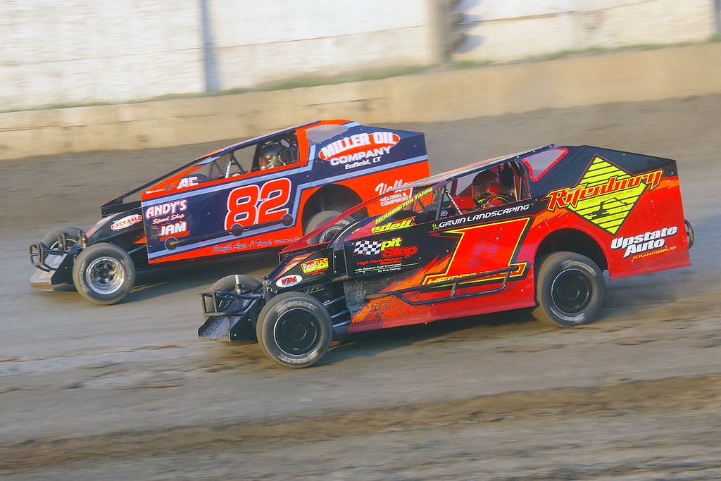 . Smallblock mod action Jason Herrington #1 & Brian Peterson #82 at Lebanon Valley Speedway June 30, courtesy Kustom Keepsakes, Mark Brown and Ryan Karabin. For reprints and more,visit https://nepart.smugmug.com