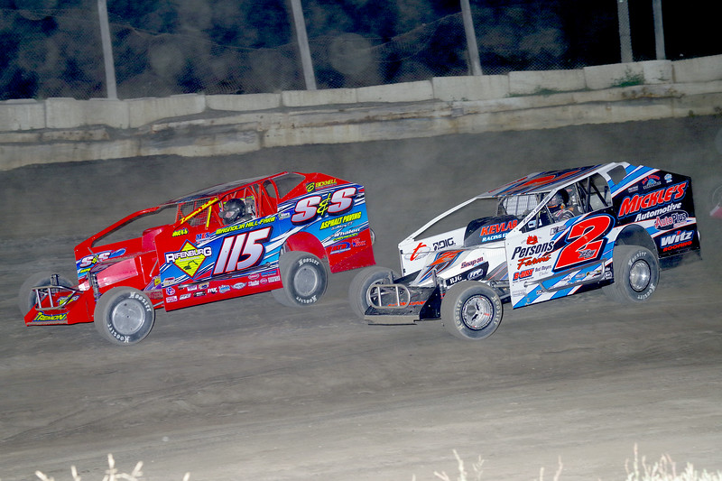 "Mod action Kenny Tremont #115 & Ronnie Johnson #2RJ at Lebanon Valley Speedway June 30, courtesy Kustom Keepsakes, Mark Brown and Ryan Karabin. For reprints and more,visit <a href=""https://nepart.smugmug.com"">https://nepart.smugmug.com</a>"