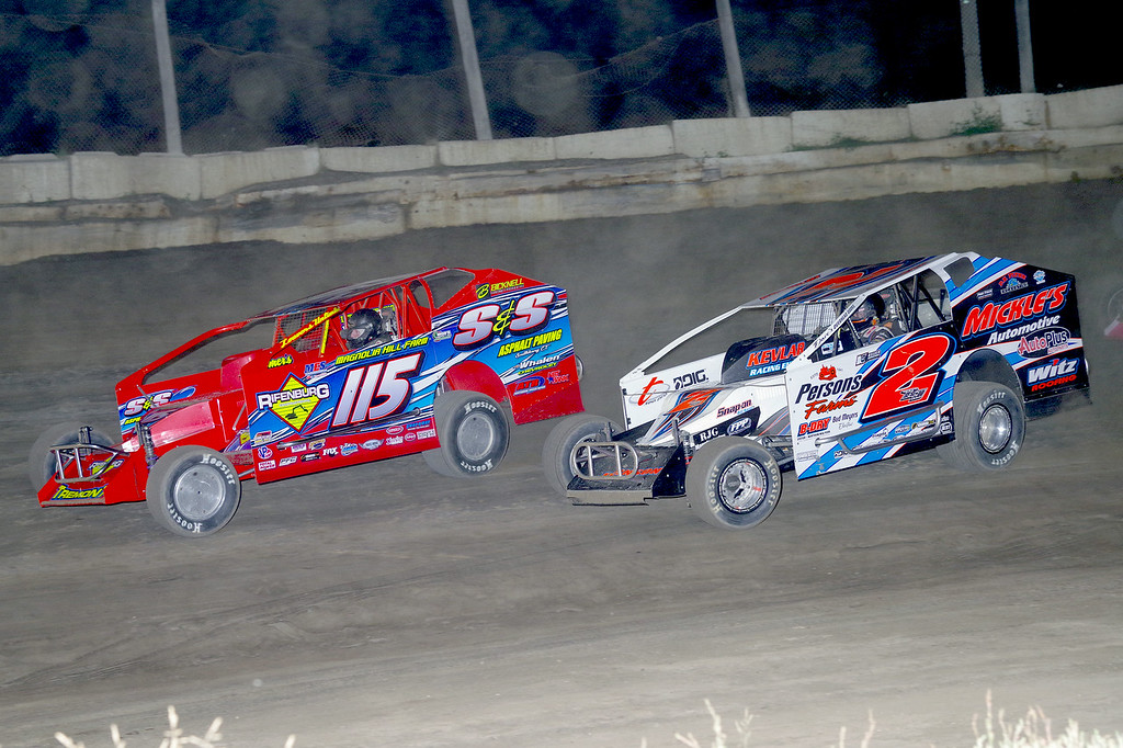 . Mod action Kenny Tremont #115 & Ronnie Johnson #2RJ at Lebanon Valley Speedway June 30, courtesy Kustom Keepsakes, Mark Brown and Ryan Karabin. For reprints and more,visit https://nepart.smugmug.com