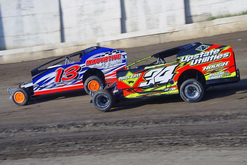"Smallblock mod action JR Heffner #34 & Frank Hoard #13 at Lebanon Valley Speedway June 30, courtesy Kustom Keepsakes, Mark Brown and Ryan Karabin. For reprints and more,visit <a href=""https://nepart.smugmug.com"">https://nepart.smugmug.com</a>"