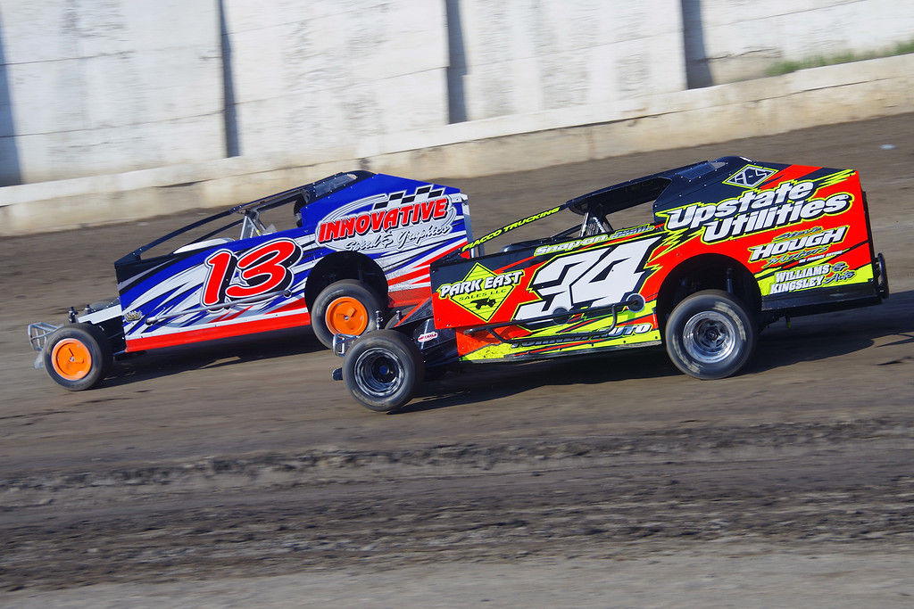 . Smallblock mod action JR Heffner #34 & Frank Hoard #13 at Lebanon Valley Speedway June 30, courtesy Kustom Keepsakes, Mark Brown and Ryan Karabin. For reprints and more,visit https://nepart.smugmug.com