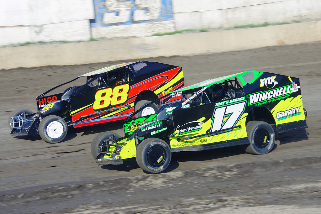 . Smallblock mod action Andy Bachetti #17 & Olden Dwyer #88 at Lebanon Valley Speedway June 30, courtesy Kustom Keepsakes, Mark Brown and Ryan Karabin. For reprints and more,visit https://nepart.smugmug.com