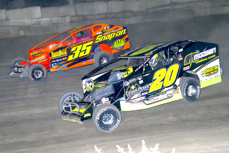 "Mod action Brett Hearn #20 & LJ Lombardo #35 at Lebanon Valley Speedway June 30, courtesy Kustom Keepsakes, Mark Brown and Ryan Karabin. For reprints and more,visit <a href=""https://nepart.smugmug.com"">https://nepart.smugmug.com</a>"