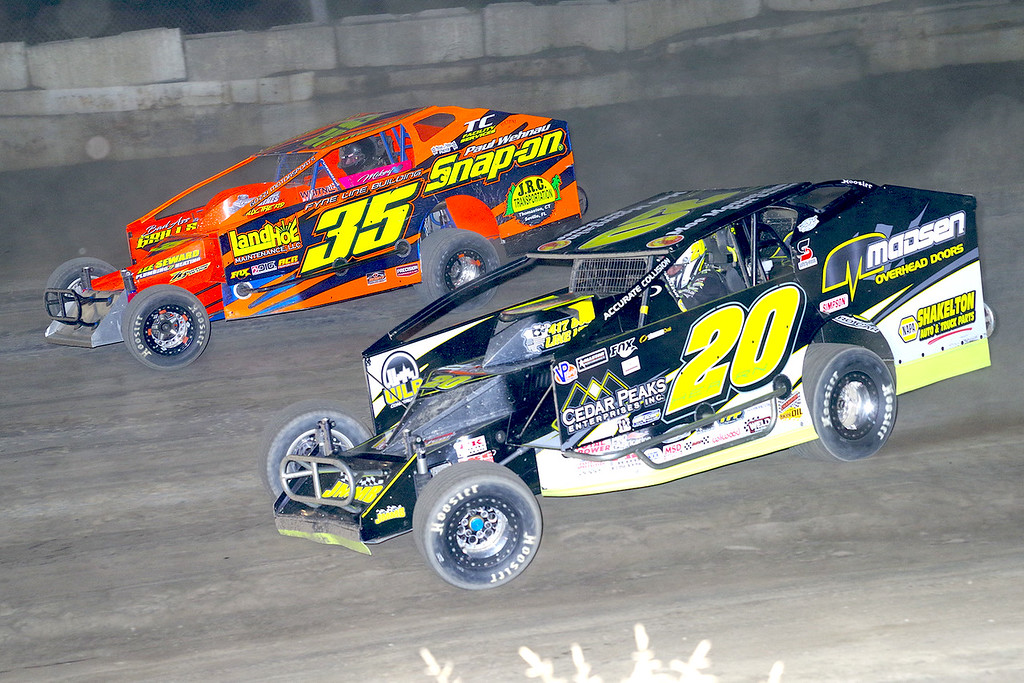 . Mod action Brett Hearn #20 & LJ Lombardo #35 at Lebanon Valley Speedway June 30, courtesy Kustom Keepsakes, Mark Brown and Ryan Karabin. For reprints and more,visit https://nepart.smugmug.com