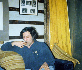 Larry Lebin, March 1978, prepping for Passing Through II musical play, at home.