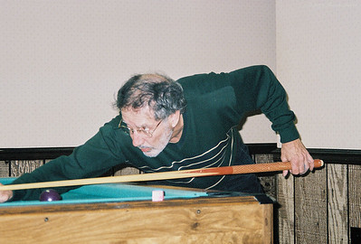 Larry Lebin, playing pool in our basement  Dec 31 1998.