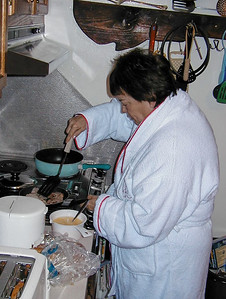 Shirley Lebin in her kitchen, April 1999.