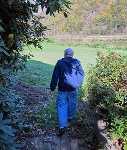 Larry Lebin, walking toward the river. Oct 16 2011