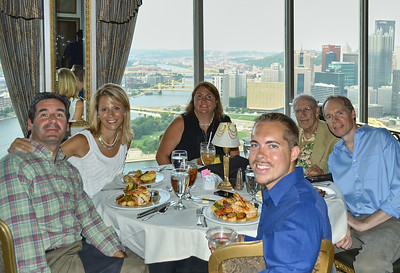 Dinner at LeMont restaurant, Pittsburgh PA. Larry Lebin, Patty, Barry, Linda, Nick, FL. July 31 2014