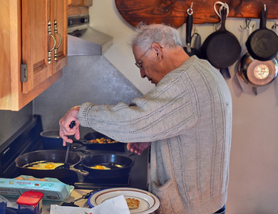 Larry Lebin making us breakfast. July 27 2014