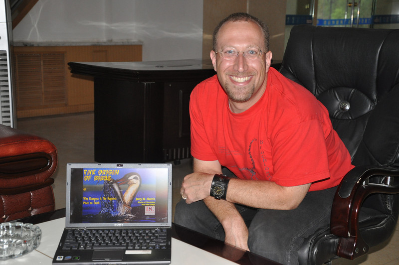 Here I am with my laptop, ready to give my talk in the lobby of our hotel in Yumen.