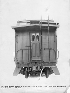 2010.030.BF.09--lee hastman collection 8.5x13 print--CNS&M--wooden caboose 1002 builders photo (AC&F lot 340)--Chicago IL--1927 0127