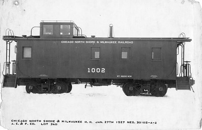 2010.030.BF.08--lee hastman collection 8.5x13 print--CNS&M--wooden caboose 1002 builders photo (AC&F lot 340)--Chicago IL--1927 0127