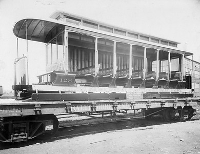 2010.030.BP.05--lee hastman 6.5x8.5 collection print--PMcK&C--wooden trolley 128 on B&O flatcar for shipment from Jackson & Sharp plant (AC&F order 2290-99)--Wilmington DE--no date