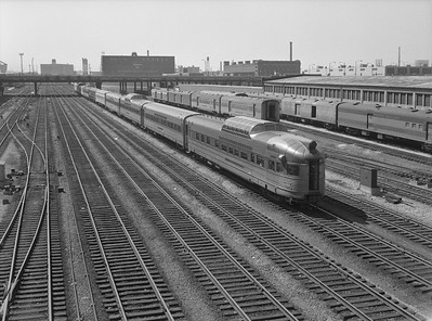 2010.030.01.P.08--lee hastman 6x7 neg--CB&Q--dome obs passenger car Silver Penthouse on the hind end of passenger train--Chicago IL--1971 0425