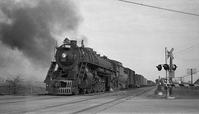 2010.030.13.S.25--lee hastman 116 neg [Paul Slager]--GTW--lee hastman 116 neg--GTW--steam locomotive 6335 on freight train action--near Chicago Heights IL--1958 0416