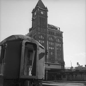 2010.030.05.8.005--lee hastman 120 neg--ICRR--12th Street Central Station scene with passenger car--Chicago IL--1964 0000