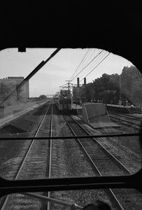 2010.030.05.8.005J--lee hastman 6x9 neg--ICRR--27th Street station and Highliner as seen from switch engine--Chicago IL--1972 0000