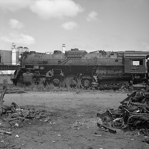 2010.030.10.S.025--lee hastman 120 neg--NKP--steam locomotive 2-8-4 758 (retired)--New Haven IN--1961 0701