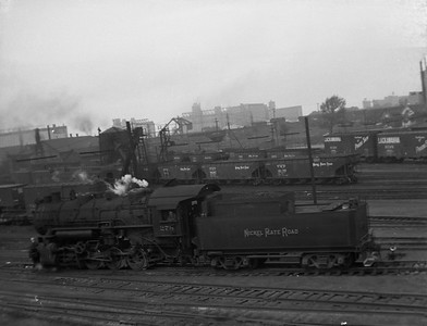2010.030.10.S.019--lee hastman 6x7 neg--NKP--steam locomotive 0-8-0 278 in yard scene--Buffalo NY--1957 0000